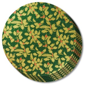 Christmas Drum Round 12-inch Green Holly 5 Pack