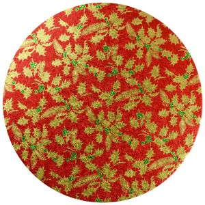 Christmas Drum Round 10-inch Red Holly
