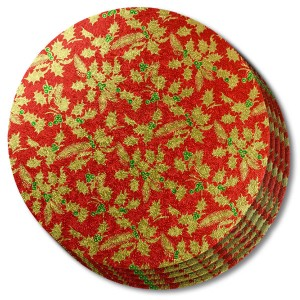 Christmas Drum Round 12-inch Red Holly 5 Pack