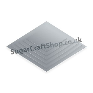 Cake Board Single Thick Silver Square 3-inch