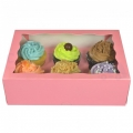 Cupcake Box Pink (holds 6) with insert