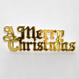 A Merry Christmas Motto 76mm - Gold (plastic)