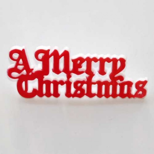 A Merry Christmas Motto 76mm - Red (plastic)