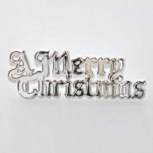 A Merry Christmas Motto 76mm - Silver (plastic)