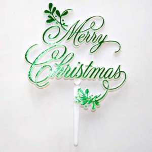Merry Christmas Mistletoe Motto - Green (plastic)