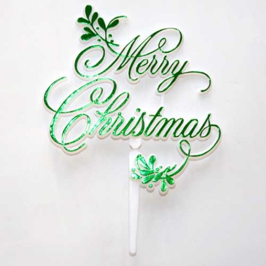 Merry Christmas Mistletoe Motto - Green (plastic)