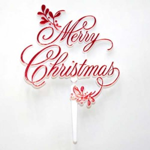 Merry Christmas and Mistletoe Motto - Red (plastic)