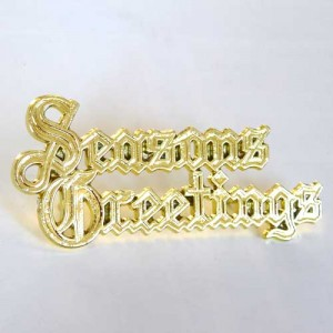 Seasons Greetings Motto 76mm - Gold (plastic)