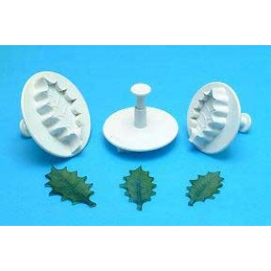 Veined Holly Leaf Plunger Cutter Set of 3 - PME HL544