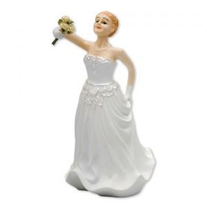 Caucasian Bride Cake Topper - 15cm