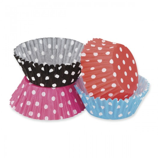 Cupcake/Muffin Cases Polka Dots x100 Blue/White