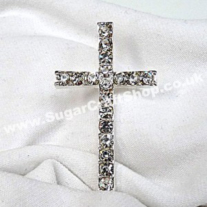 Diamante Cross on stem 2cm x 4.5cm
