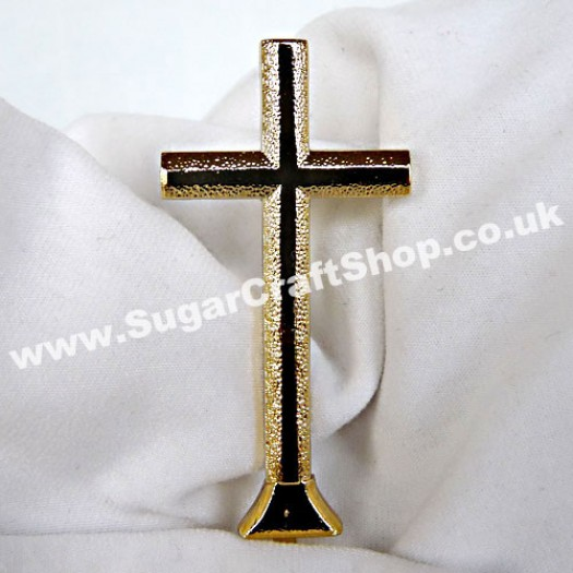 Plastic Cross on stem - Gold