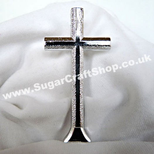 Plastic Cross on stem - Silver