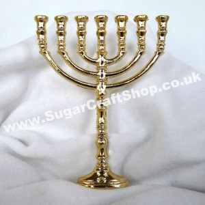 Plastic Menorah/Candelabra on stem - Gold