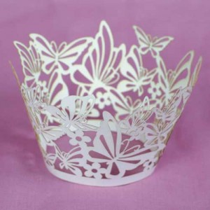 Cupcake Wrappers Butterfly White 55mm 12 piece