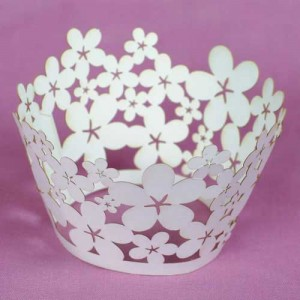 Cupcake Wrappers Blossom White 55mm 12 piece