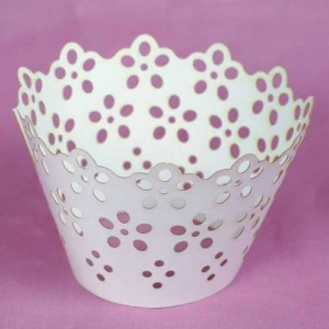 Cupcake Wrappers Broderie Anglaise White 55mm 12 piece