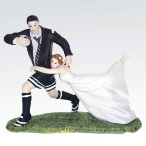 Rugby Couple Bride and Groom Cake Topper 127mm