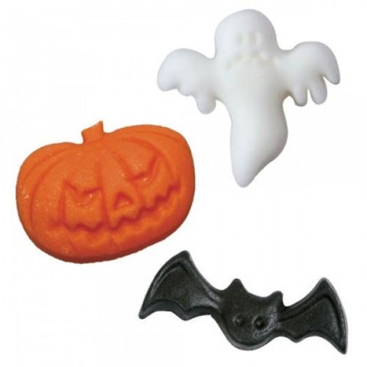 Sugar Halloween Decorations x30 - 10 ghosts, 10 pumpkins, 10 bats