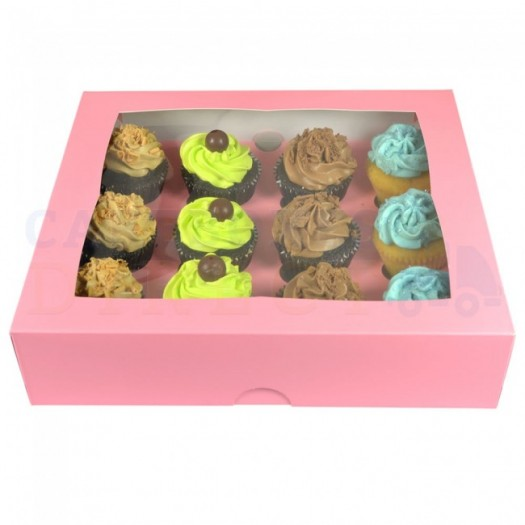 Cupcake Box Pink (holds 12) with insert