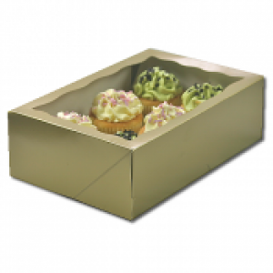 Cupcake Box Gold (holds 6) with insert