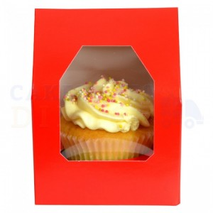 Cupcake Box Red (holds 1) with insert