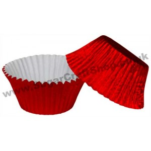 Muffin Cupcake Cases Foil 50 -  Red