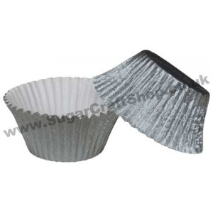 Muffin Cupcake Cases Foil 50 -  Silver