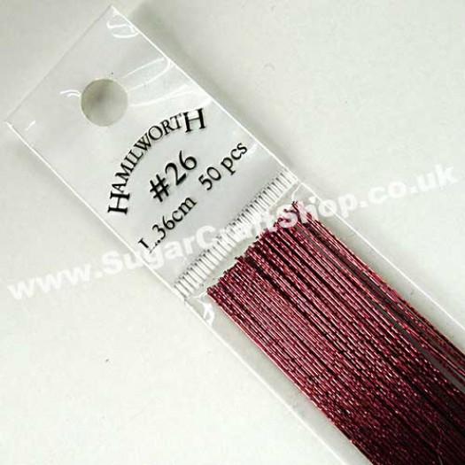 Wire Metallic Burgundy 26 Gauge - 50 piece