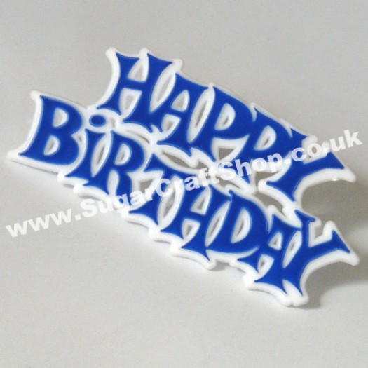 Happy Birthday Motto - Blue (plastic)