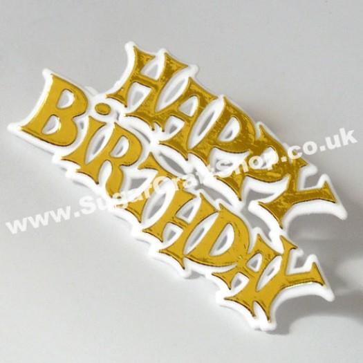 Happy Birthday Motto - Gold (plastic)
