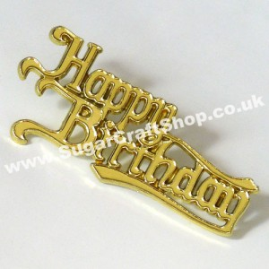 Happy Birthday Motto - Gold script (plastic)