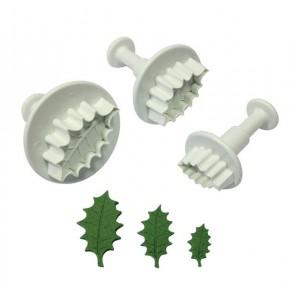 Veined Holly Leaf Plunger Cutter Set of 3