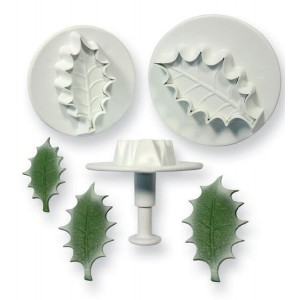 Veined Holly Leaf Plunger Cutter Set of 3 (Extra Large) - PME HLL664