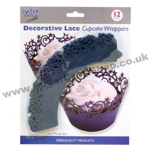 Decorative Lace Cupcake Wrappers - Pack of 12 Stars/Midnight Blue