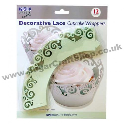 Decorative Lace Cupcake Wrappers - Pack of 12 Swirls/Light Green