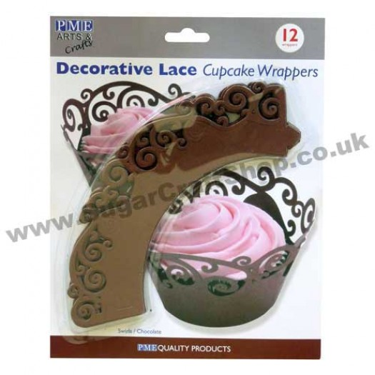 Decorative Lace Cupcake Wrappers - Pack of 12 Swirls/Chocolate